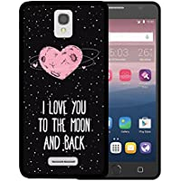 Funda Alcatel OneTouch Pop Star 4G LTE, WoowCase [ Alcatel OneTouch Pop Star 4G LTE ] Funda Silicona Gel Flexible Corazón Frase Amor - I Love You To The Moon And Back, Carcasa Case TPU Silicona - Negro