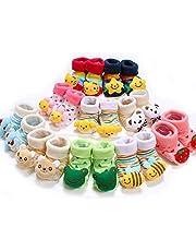 Ninos World Baby Cotton Cartoon Face Socks Cum Shoes, 0-6 Months (Multicolour) - Set of 2 Pair