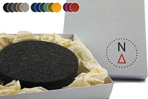 NordernArt Untersetzer rund 10cm für Gläser 6er Set, 100% Woll-filz, edle natur Getränkeuntersetzer als Filzuntersetzer auf Tisch, Bar mit Geschenk-Box Farbe wählbar (grau / anthrazit)