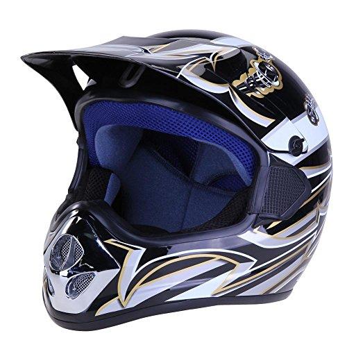 Unterbrechen ABS Full Face Helm mit Linse für Dirty Bike ATV Road Motorrad (schwarz), Farbe A, 335.00*245.00*240.00mm