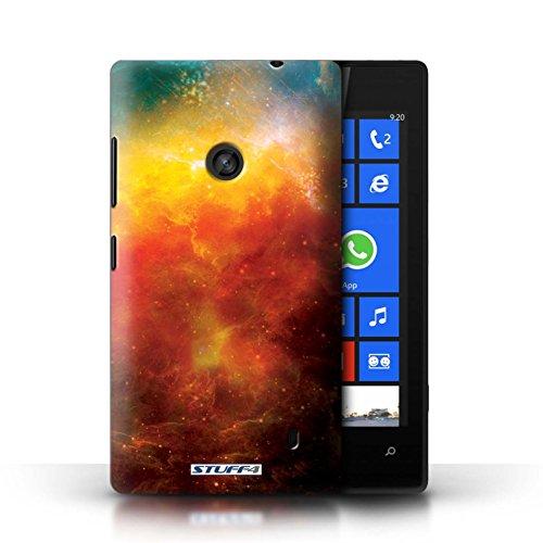 Kobalt® Imprimé Etui / Coque pour Nokia Lumia 520 / Planète Jaune conception / Série Cosmos Nébuleuse Orange