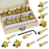 #8: SPARES2GO Tungsten Carbide Tipped Router Bit Set (12 Pieces, 6.35mm 1/4'' Shank)