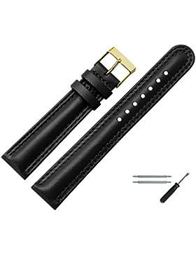 Uhrenarmband 18mm Leder schwarz mit Naht, bombiert - inkl. Federstege & Werkzeug - Uhren Ersatzarmband aus echt...
