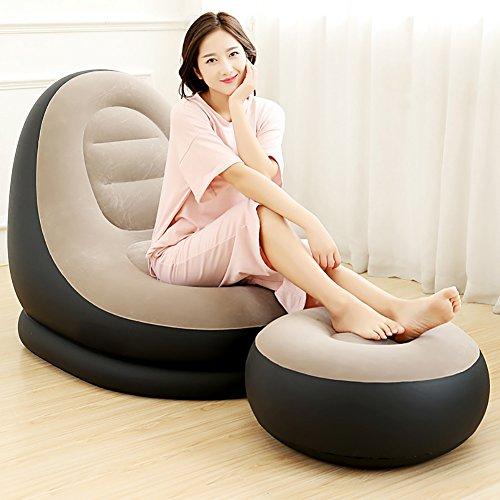 Fges poltrona deluxe lounge gonfiabile con poggiapiedi,grigio