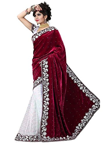 V-Art Women\'s Velvet & Net Saree With Blouse Piece (Maroonvelvet_Maroon)