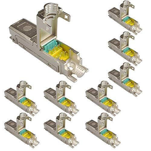 AIXONTEC 10 Pack LAN Verbinder Cat.6A Netzwerk Verbindungsmodule für Cat.7 Kabel Ethernet Adapter geschirmt | LSA Netzwerkverbinder geeignet für CAT5 / CAT6 / CAT6A / CAT 7 LANKabel - 5e Keystone-koppler