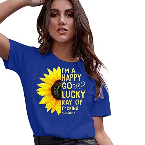NPRADLA Damen Large Size Tops Bluse Sommer Sonnenblumendruck Lauftraining Graphic Tee Casual Kurzarm Frau Pullover T-Shirt