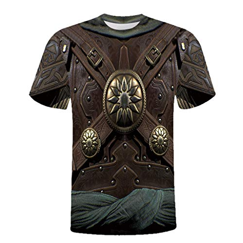 Xmiral t-Shirt Unisex Urlaub 3D Rüstung Printed Tee Baumwollmischung O-Ausschnitt Tops Slim Fit Oberteile(L,I) (Knit Shirt Pacific)
