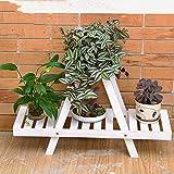 STTS Flower Stand-Flower Rack in legno massello a più strati Landing Flower Pot Rack Soggiorno Balcone Piante verdi Mensola,B