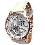 Keepwin Damen Fashion Uhren Frauen Elegant Roman Numerals Quartzuhr Classic Leder Analog Solid Color Armbanduhren (White)