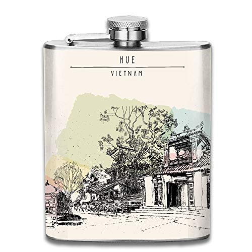 Hoklcvd Hue Vietnam Southeast Asia Temples and Trees In Forbidden City Colorful Vintage Artistic Gift for Men 304 Stainless Steel Flask 7oz