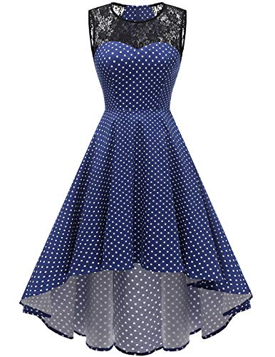 HomRain Damen 1950er Vintage Retro Rockabilly Cocktail Spitzenkleid Party Abendkleider Navy Small White Dot XS (Für White Kleider Mädchen Lace)