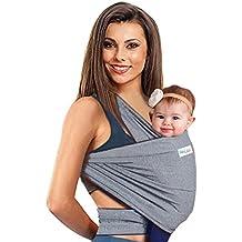 Fular portabebés 4 en 1 | Portador de Bebé para hombre y mujer | Pañuelo elástico para Bebés | El mejor regalo para la fiesta de bienvenida del bebé por BabyCakes (gris)