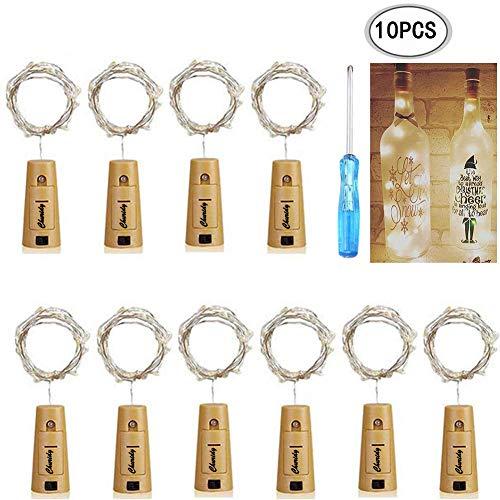 (10x 20 LED 2M Flaschen-Licht, Flaschenlichter Lichterketten Nacht Licht Weinflasche Flaschenlicht Kork Flaschen Licht LED Lichter Lichterkette Flaschen DIY für Hochzeit Party Romantische Deko)
