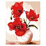 Shukqueen DIY Erwachsenen Öl-Gemälde, Malen nach Zahlen Kits, Acryl-Malerei rote Mohnblumen, 16x 20cm, Frameless,Just Canvas