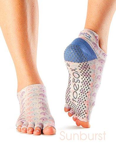 Mujer 1par Toesox Yoga Calcetines, diseño de corte bajo, de algodón orgánico, 5dedos, parte delantera abierta, Sunburst/Colored, small