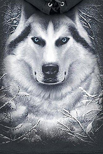 Spiral White Wolf Felpa con cerniera donna nero Nero