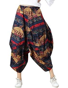 FEOYA Étnico Pantalones Anchos Bombachos para Mujeres Chicas Loose Pants Harem Casual Vintage Bohemia