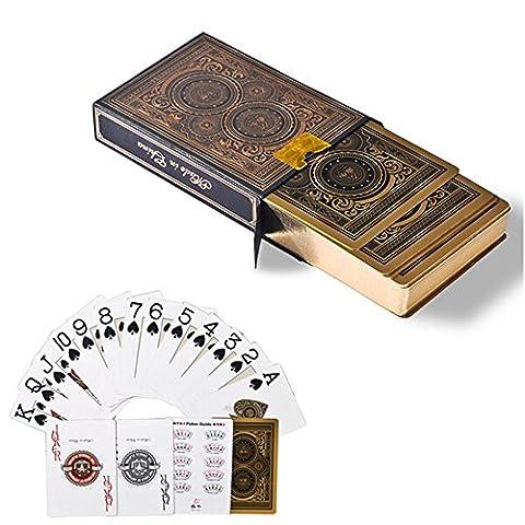 Asdomo 54pcs/du pont étanche Plastique PVC Bord Doré Cartes de poker de collection Jeu de société Jeu de cartes tours de magie Outil