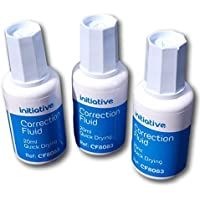 Pack of 3 Correction Fluid 20ml Quick Drying With Tapered Brush