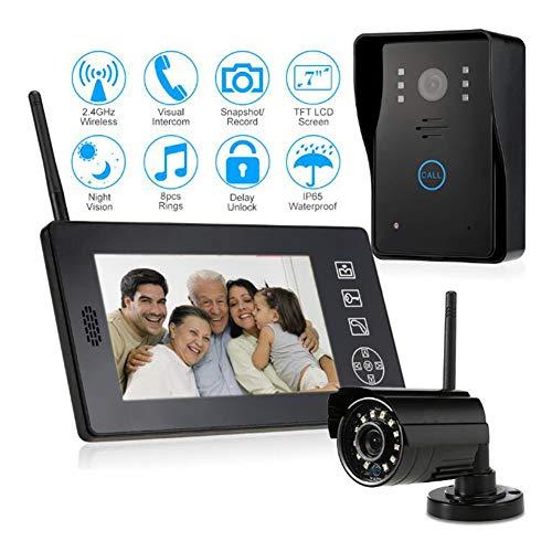 Wifi videocitofono intercom, 7pollici monitor touch-screen,720p campanello telecamera cablata visore notturno,conversazione/visualizzazione,salvataggio,monitor/risoluzione: 840x480/modello: 818mjwd1