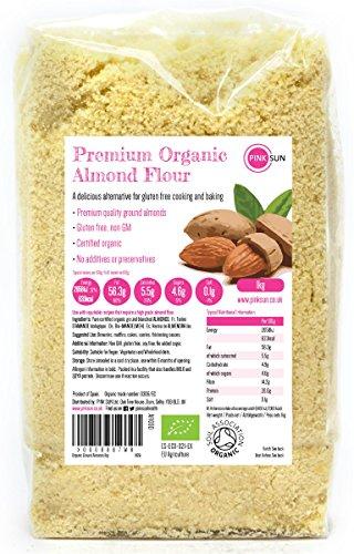 Organic Ground Almonds 1kg 1000g Organic Almond Flour - Gluten Free Baking - Certified Organic by the Soil Association - PINK SUN