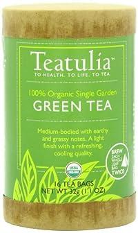 Teatulia Organic Green Tea, 16 Ct, Eco-Canister
