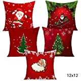 TIED RIBBONS Christmas Decorations Satin Cushion Covers for House (12 X 12 Inch, Multicolour) -Set of 5