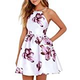 HCFKJ 2018 Mode Damen beiläufige Taschen-Sleeveless Frauen O-Ansatz über Knie-Kleid-lose Partei-Kleid (L, Violett)