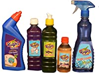 Right Choice Toilet Cleaner Liquid, 500 ml and Right Choice Fabric Wash Liquid, 500 ml and Right Choice Dish Wash Liquid, 500 ml and Right Choice Floor Cleaner (Concentrate) Mix with 5-6L Water, 250 ml and Right Choice Glass Cleaner Liquid, 500 ml (Combo of 5)