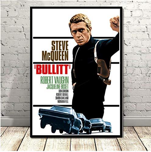 Steve McQueen Classic Movie Schauspieler B & W Sammlung Geschenk Poster Und Drucke Kunst Malerei Wandbilder Für Wohnzimmer Wohnkultur 40X60 cm Ohne Rahmen -