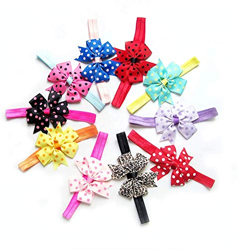 Angel Bear Multi-Colour Chiffon Satin Lace Head Band For Girls, Hairbands, Ribbon Boutique, Elastic Bow Bowknot for Kids Girls Infant Toddler (10Pcs, Color Random)