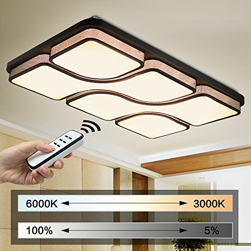 Natsen® 96W LED Deckenleuchte Rechteck Deckenlampen Modern Wandlampe Schwarz voll dimmbar Fernbedienung X8908H (Rechteck-lampen-farbtöne)