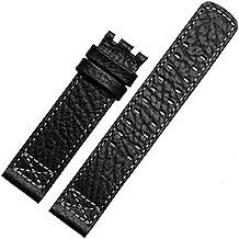 22mm Correa de reloj de cuero negro reloj banda de punto de compatible para Hamilton hebilla
