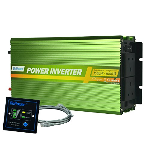EDECOA 1500W Pure Sine Wave Power Inverter DC 12V to 240V AC with Remote Controller - Green 1500w Power Inverter