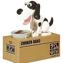 ANKKO – divertida hucha de perro que se come las monedas, color negro y marrón, Blanco y negro