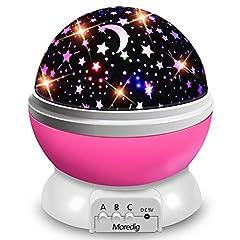 Idea Regalo - Moredig - lampada stelle proiettore, 360 Gradi Rotazione Proiettore Stelle con 8 Modalità Romantica Luce Notturna, Regalo per Neonati, Bambini, Adulti, Compleanno, Natale, Halloween ecc - Rosa