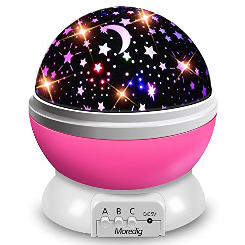 Moredig Night Light Lamp Projector, Star Light Rotating Projector, Star Projector Lamp with 8 Colors and 360 Degree Moon Star Projection with 2 meters USB Cable, Unique Lamp for Children Pink
