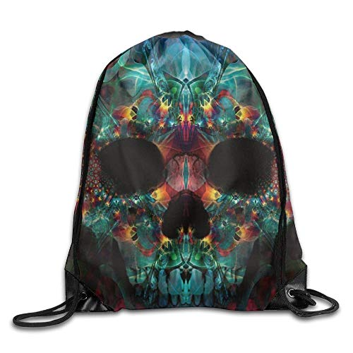 FTKLSS Lightweight Foldable Large Capacity Colorful Cool Fun Trippy Skull Cool Drawstring Travel Sports Backpack Gift (Trippy Videos)