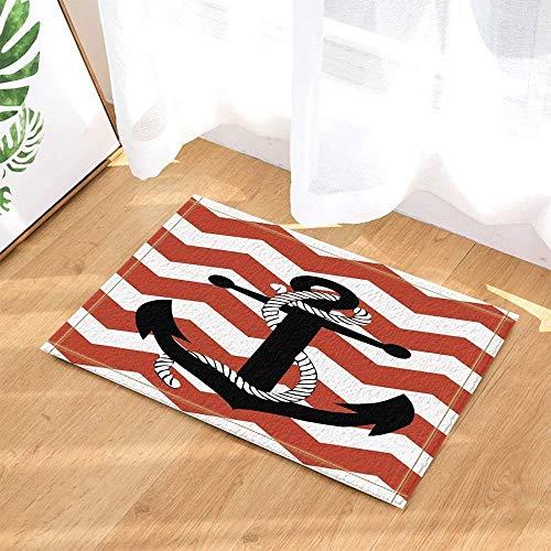 gwregdfbcv Schwarzer Anker auf rotem weißem gestreiftem Hintergrund weißes Starkes Seil Badezimmertürmatten-Antirutschboden-Inneneingang rechtwinkliges Fußmattenkinderzubehör 40X60CM (Blauen Teppich Und Seile)