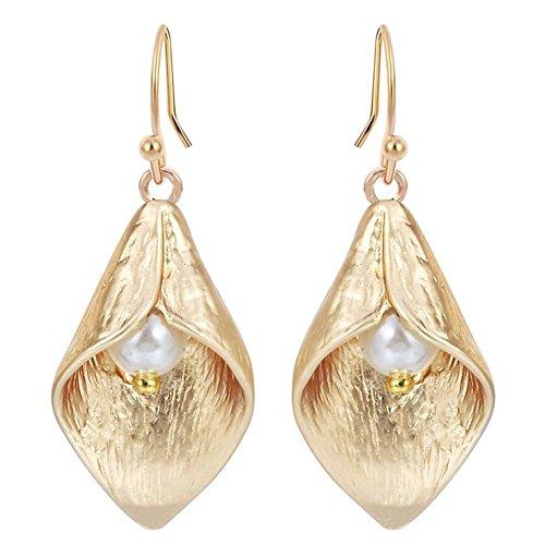 LaDiva Lilie Blume mit Perle Ohrringe Schmuck Hochzeit Geschenk für Mädchen Frauen Vintage Hängen Ohrringe (Gold)