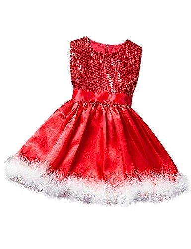 NNJXD kleine Mädchen Weihnachten Fancy verkleiden Moose Tutu Kinderkostüm Größe (120) 4-5 Jahre Rot