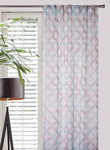 DecoKing 140x245 cm weiß grau Minz Vorhang Fensterdekoration Gardine Ösenschal geometrisches Muster grau Mint