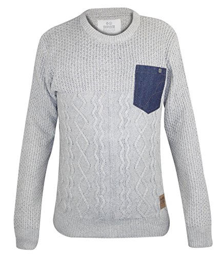 Mens Crosshatch Cable-Knit Jumper Crew Neck Long Sleeves Pullover Winter Top Plaza Taupe