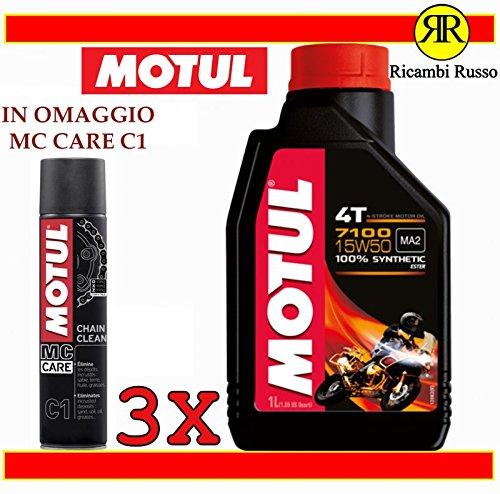Motul 7100 15w50 olio motore moto 4 tempi litri 3 + OMAGGIO MC Care C1 Chain Clean