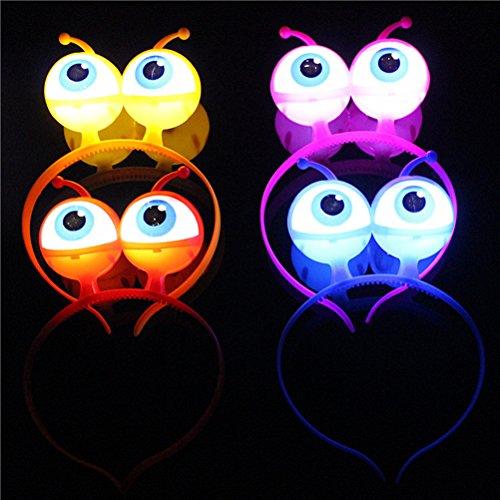 Toyvian 4 stücke Kinder Partei Stirnband-augapfel Hoop Party Ball Kopfbedeckungen haarverschluss mit großen Augen LED Stirnband