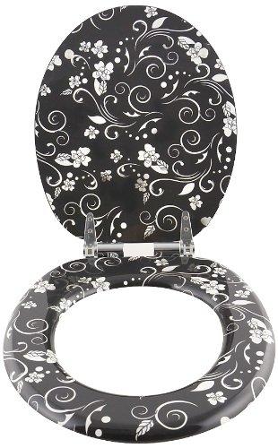Toilettendeckel WC Deckel WC Sitz Klodeckel Klobrille WC Brille Floralmuster mit Absenkautomatik (softclose) universal