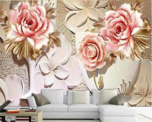 WH-PORP Anpassbare 3D Tapete Skulptur Blume Wohnzimmer Tv 3D Hintergrund Wand-350cmX245cm