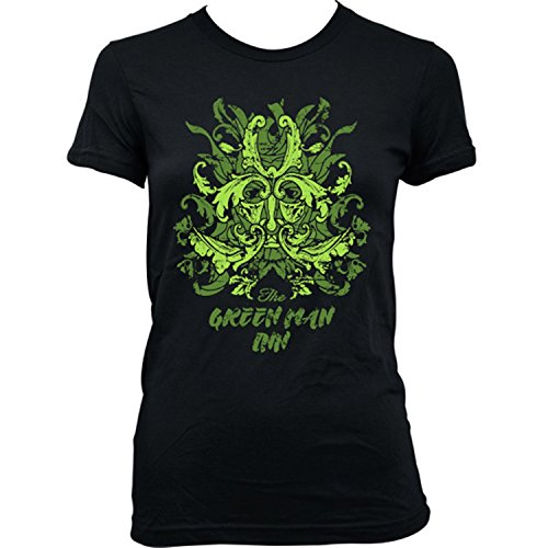 9369L Green Man Inn Damen T-Shirt The Wicker Man Summerisle Festival Lord Burning Horror Schwarz