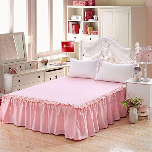 Gonna letto copriletto rosa onda punto pizzo cotone lenzuolo 120x200cm(47x79inch) pink